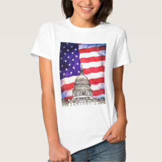 American Flag And Capitol Building Tshirts