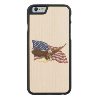 American Flag and Eagle Carved Maple iPhone 6 Case