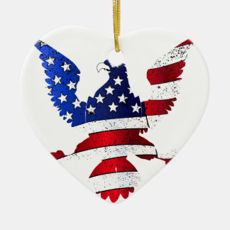 American Flag And Eagle Ceramic Heart Decoration