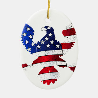 American Flag And Eagle Ceramic Oval Decoration