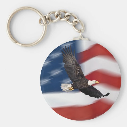 American flag and eagle key ring