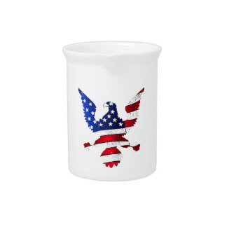 American Flag And Eagle Pitcher