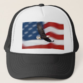 American flag and eagle trucker hat