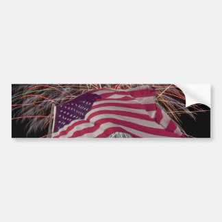 American Flag and Fireworks Bumper Sticker