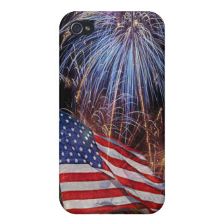 American Flag And Fireworks Design iPhone 4/4S Covers