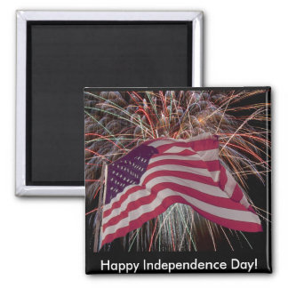 American Flag and Fireworks Magnet