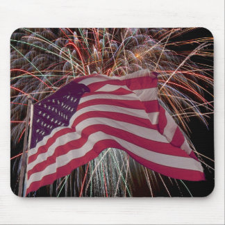 American Flag and Fireworks Mouse Mat