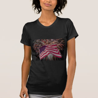 American Flag and Fireworks T-Shirt