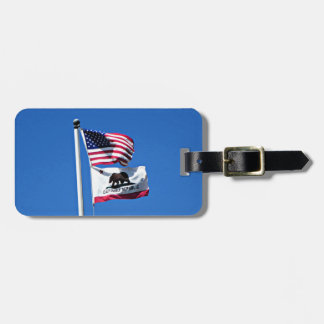American Flag and Flag of California Luggage Tag
