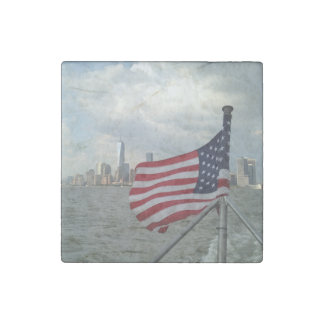 American Flag and Freedom Tower USA pride, NYC Stone Magnet