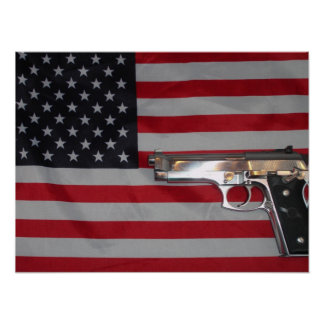 American Flag and Gun Poster