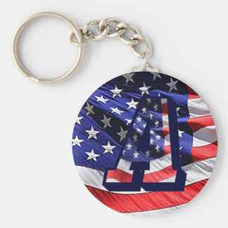 """American Flag and Letter """"A"""" Key Chain"""