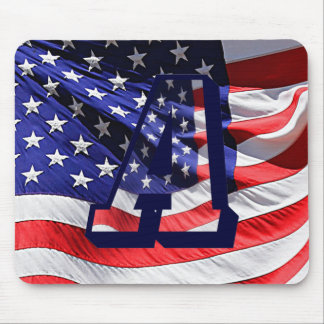 """American Flag and Letter """"A"""" Mouse Pad"""