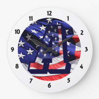 """American Flag and Letter """"A"""" Round Clock"""