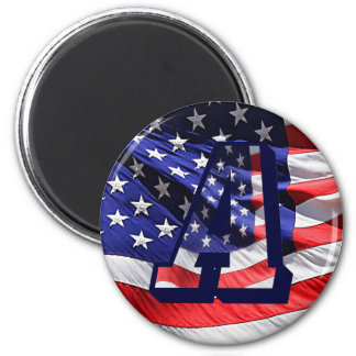 """American Flag and Letter """"A"""" Round Magnet"""