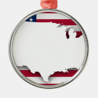 American flag and map Silver-Colored round decoration