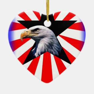 american flag and the Bald eagle Ceramic Heart Decoration