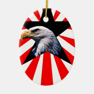american flag and the Bald eagle Christmas Ornament