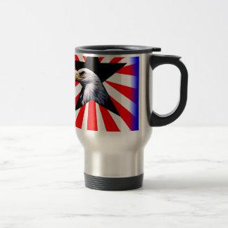 american flag and the Bald eagle Travel Mug