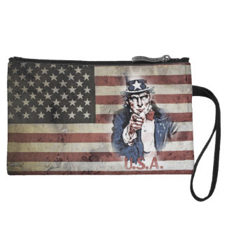 American Flag and Uncle Sam Wristlet Clutch