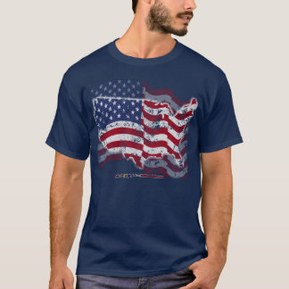 American Flag and US Country Outline T-Shirt