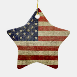 American Flag - Antique - Distress Finish Christmas Ornament
