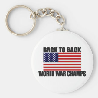 American Flag Back To Back World War Champs Basic Round Button Key Ring