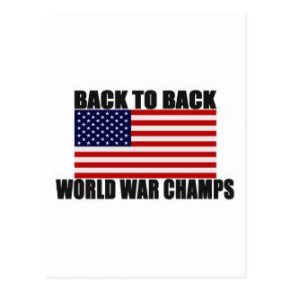 American Flag Back To Back World War Champs Postcard