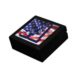 "American Flag Background & Letter ""A"" Jewelry Box"
