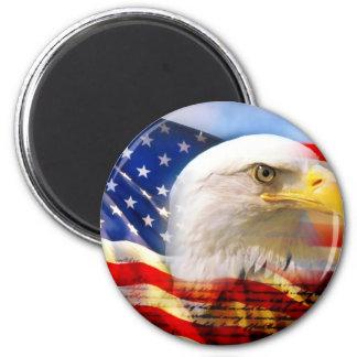 American Flag Bald Eagle 6 Cm Round Magnet