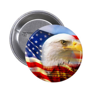 American Flag Bald Eagle 6 Cm Round Badge