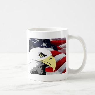 American Flag/Bald Eagle Basic White Mug