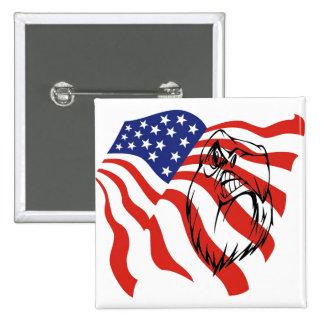 American Flag, Bald Eagle Button