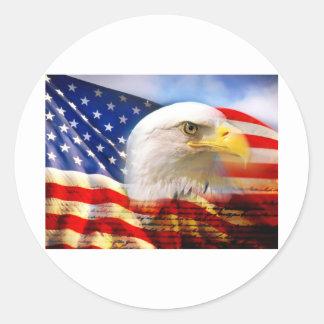 American Flag Bald Eagle Classic Round Sticker
