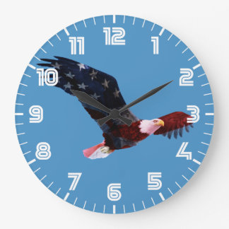American Flag Bald Eagle Large Clock