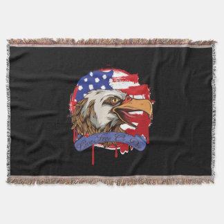 American Flag Bald Eagle Live Free Or Die Throw Blanket
