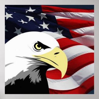 American Flag/Bald Eagle Poster