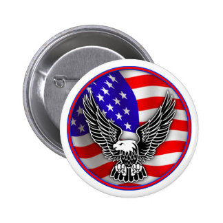 American Flag Bald Eagle United States Button Badg
