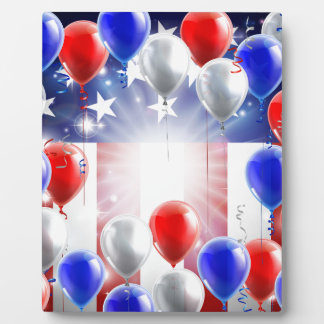 American Flag Balloons Background Design Photo Plaques