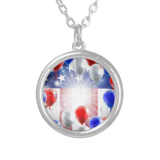 American Flag Balloons Background Design Silver Plated Necklace