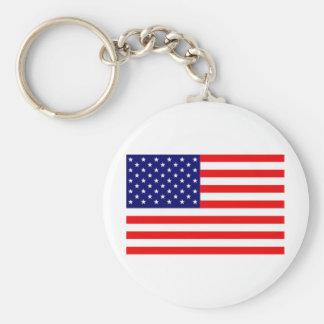 American Flag Basic Round Button Key Ring