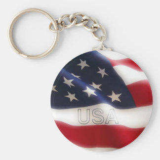 American flag basic round button key ring