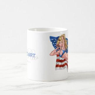 American Flag Bikini Pinup Girl by Al Rio Basic White Mug