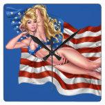 American Flag Bikini Pinup Girl by Al Rio Clocks
