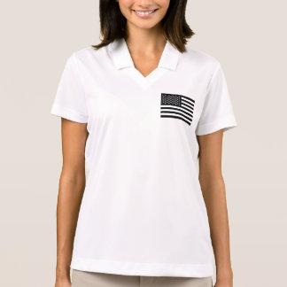 American Flag Black White Polo Shirt