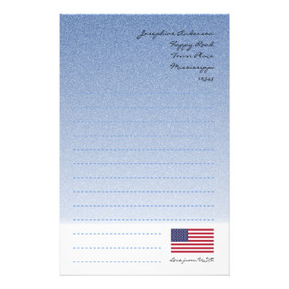 American Flag Blue Writing Paper