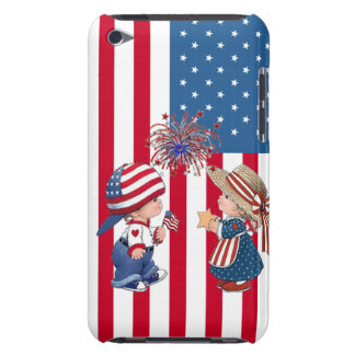 American Flag Boy and Girl Barely There iPod Case