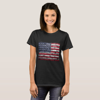 American Flag, Brick Textured.  - Patriotic T-Shirt