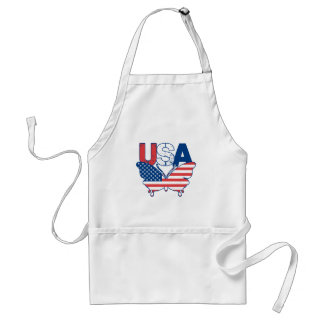 American Flag Butterfly Red White Blue USA Adult Apron
