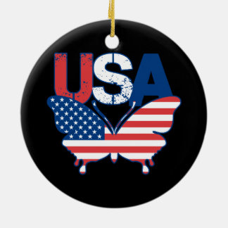 American Flag Butterfly Red White Blue USA Christmas Ornament